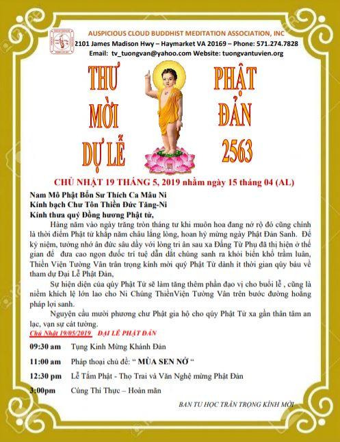 Thư Mời Dự Lễ Phật Đản 2563